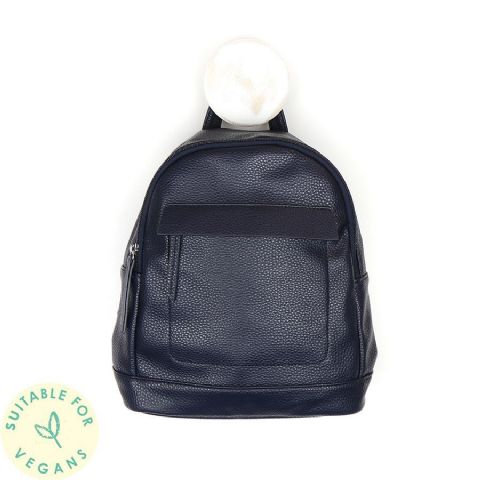 VEGAN LEATHER BACKPACK NAVY